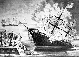 """Взрыв турецкого броненосца ""Лютфли-Дхелил в апреле 1877 года"""